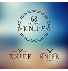 logo with a set of knives on abstract background vector image vector image