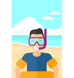 Man with swimming equipment vector image