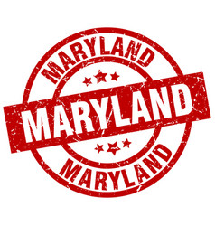 Maryland red round grunge stamp vector