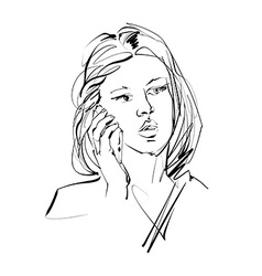 Monochrome hand drawn of a woman with a cell phone vector image