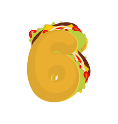 number 6 tacos mexican fast food font six taco vector image