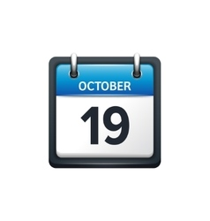 October 19 calendar icon flat vector