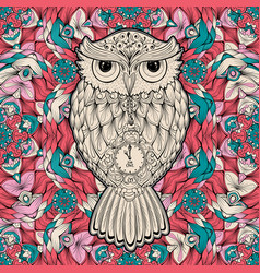 Owl bird isolated on milticolored background vector