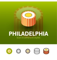 Philadelphia icon in different style vector