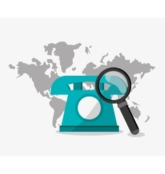 Phone map lupe and digital marketing design vector