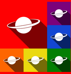 Planet in space sign set of icons with vector