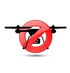 Quadcopter flights prohibited sign vector