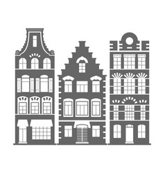 set of 3 shape holland old houses facades vector image