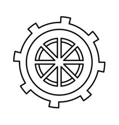 Sketch silhouette gear wheel in shape boat helm vector