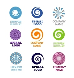 Spiral and swirl logos set vector image