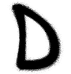 Sprayed d font graffiti in black over white vector