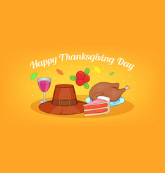 Thanksgiving day horizontal banner cartoon style vector