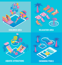 Water park flat isometric poster set vector