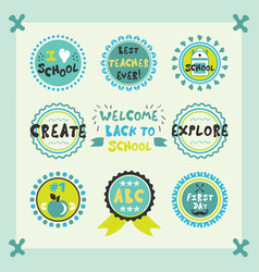 welcome back to school cute circle emblems set vector image vector image