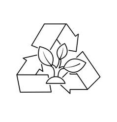 Arrows recycle symbol with ecology icon vector