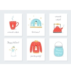 Christmas new year and winter holidays cards with vector