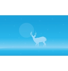 Landscape deer with fog of silhouettes vector