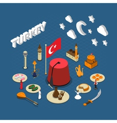 Turkey cultural isometric symbols composition vector