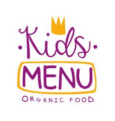 Kids organic food cafe special menu for children vector