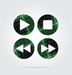 Green black tartan icon - music control buttons vector
