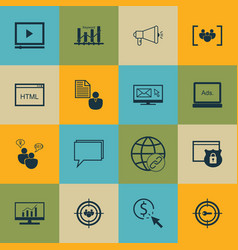 set of 16 advertising icons includes keyword vector image