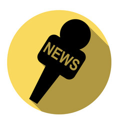 Tv news microphone sign   flat vector