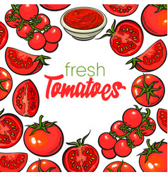 Banner framed with red tomatoes with round place vector