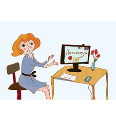 Woman at the computer making presentation vector