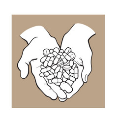 Two cupped hands holding handful pile of pills vector