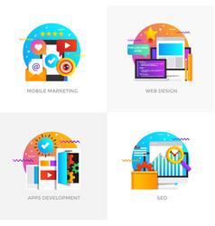 Flat designed concepts - mobile marketing web vector