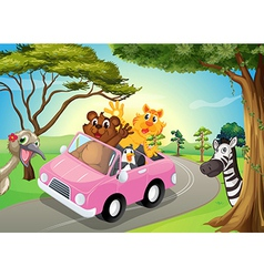A pink car with animals vector