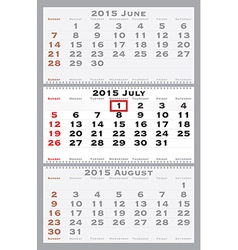 2015 july with red dating mark vector