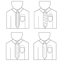 Linear man wear shirt with love1 01 vector