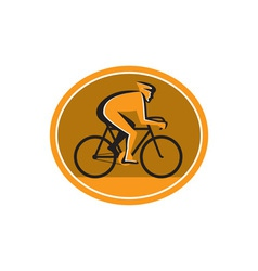 Cyclist riding bicycle cycling racing circle retro vector