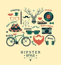 Flat design of hipster style vector