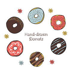 43-2 set of hand-drawn dougnuts vector