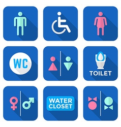 Various colorful flat style water closet signs vector