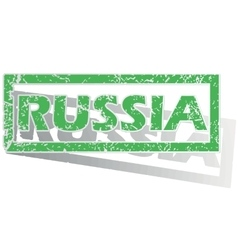 Green outlined russia stamp vector