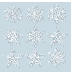 Snowflakes set background for winter vector