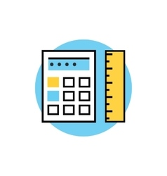 Icon of ruler with calculator vector