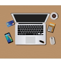 Workspace with computer keyboard mouse coffee vector