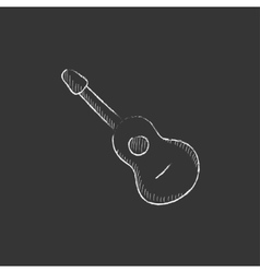 Acoustic guitar drawn in chalk icon vector