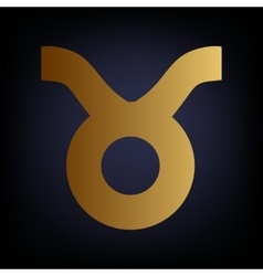 Taurus sign golden style icon vector