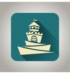 Blue flat icon with castle for web and mobile vector