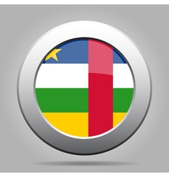 Central african republic flag metal round button vector