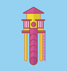 Children slide for playground with long pink tube vector