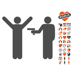 Crime robbery icon with dating bonus vector