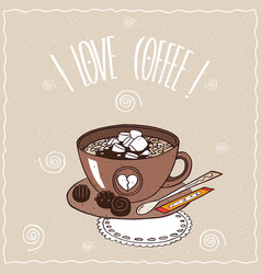 Cup of coffee with marshmallow on lacy napkin vector