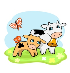 Cute cartoon cows vector
