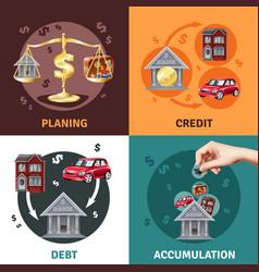 Debt credit concept 4 flat icons vector